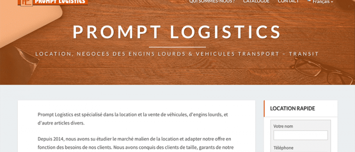 apperçu du site de Prompt Logistics